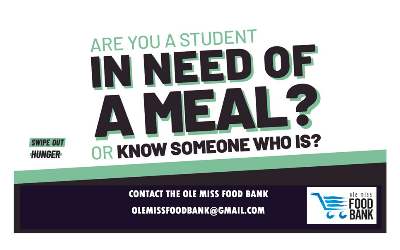 "This graphic reads, ""Are you a student in need of a meal?"" It includes contact information for the Food Bank."